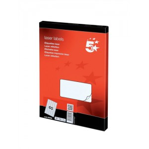 5 Star Addressing Labels Laser 65 per Sheet 38.1x21.2mm White [6500 Labels]