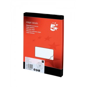 5 Star Addressing Labels Inkjet 21 per Sheet 63.5x38.1mm White [2100 Labels]