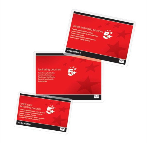 5 Star Laminating Pouches 250 Micron for Credit Card size [54x86mm] Glossy [Pack 100]