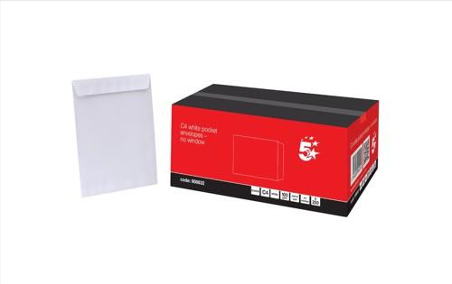 5 Star Envelopes Pocket Peel and Seal 100gsm White C4 Ref [Pack 250]