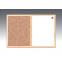 Image for 5 Star Combination Noticeboard Cork and Drywipe W900xH600mm