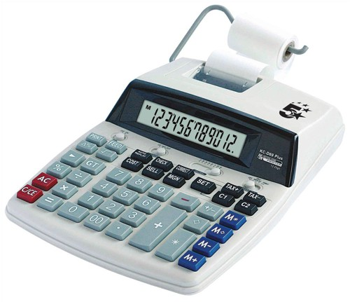 5 Star Calculator Desktop Printing VFD 12 Digit 2.7 Lines/sec 198x260x65mm Ref P12D