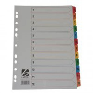 5 Star Index 230 micron Card with Coloured Mylar Tabs 1-12 A4 White