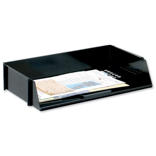 5 Star Letter Tray Wide Entry High-impact Polystyrene Stackable Black