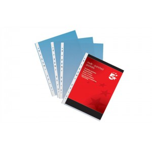 5 Star Punched Pocket Polypropylene Top-opening 80 Micron A4 Clear [Pack 100]