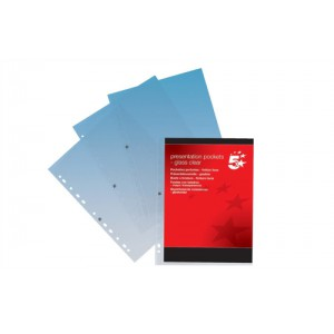 5 Star Presentation Punched Pocket Polypropylene Top-opening 120 Micron A4 Clear [Pack 10]