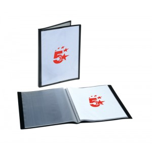 5 Star Display Book Rigid Cover Personalisable Polypropylene 20 Pockets A4 Black