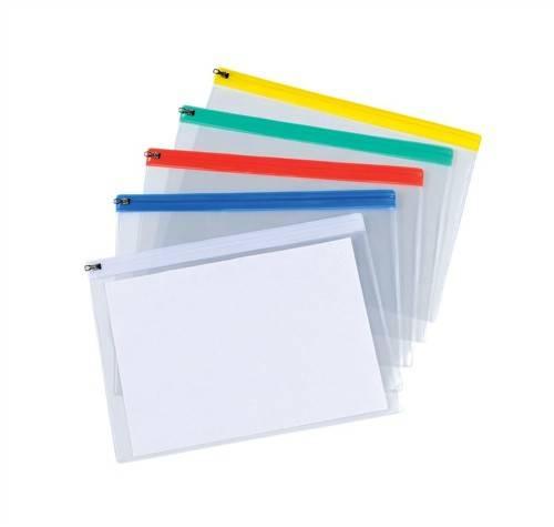 5 Star Zip Filing Bags PVC Clear Front with Coloured Seal A4 Assorted [Pack 30]