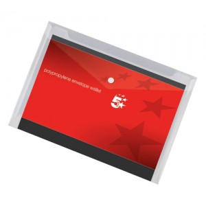 5 Star Envelope Wallet Polypropylene A4 Transparent Clear [Pack 5]