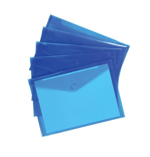 5 Star Envelope Wallet Polypropylene A4 Translucent Blue [Pack 5]