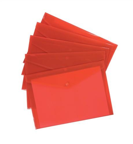 5 Star Envelope Wallet Polypropylene A4 Translucent Red [Pack 5]
