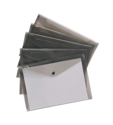 5 Star Envelope Wallet Polypropylene A4 Translucent Smoke [Pack 5]