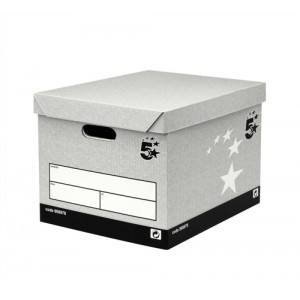 5 Star Storage Box Self-Assembly W383xD330xH282mm Grey [Pack 10]