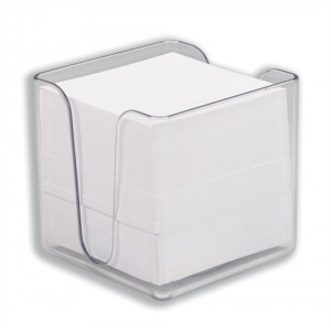 5 Star Noteholder Cube Transparent with Approx. 750 Sheets of Paper 90x90mm White