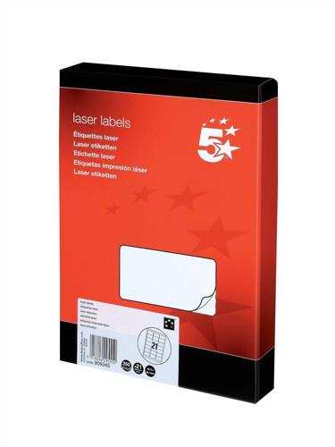 5 Star Addressing Labels Laser 21 per Sheet 63.5x38.1mm White [5250 Labels]