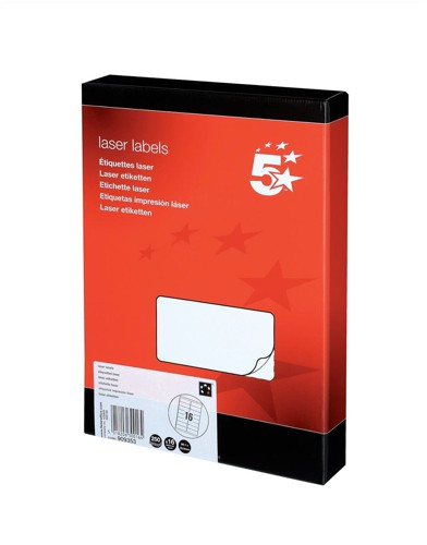 5 Star Addressing Labels Laser 16 per Sheet 99.1x34mm White [4000 Labels]