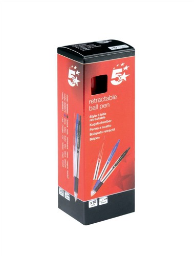 5 Star Ball Pen Retractable Medium 1.0mm Tip 0.4mm Line Red [Pack 10]