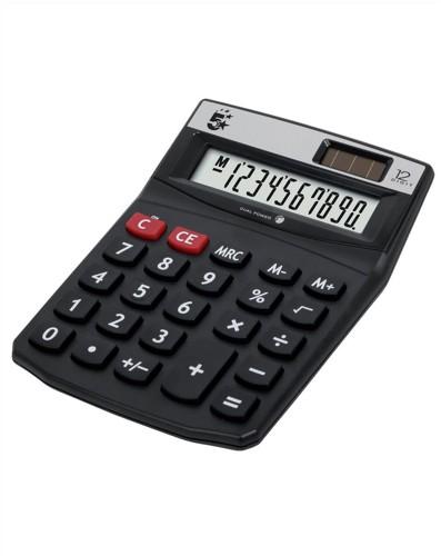 5 Star Calculator Desktop Solar/Battery Power 12 Digit 2 Set Memory 91x125x11mm Ref DT12D
