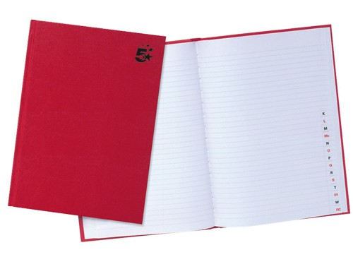 5 Star Manuscript Book Casebound 70gsm Ruled and Indexed 192 Pages A4 [Pack 5]