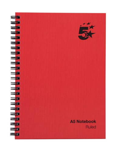 5 Star Manuscript Book Wirebound 70gsm Ruled 160 Pages A5 [Pack 5]