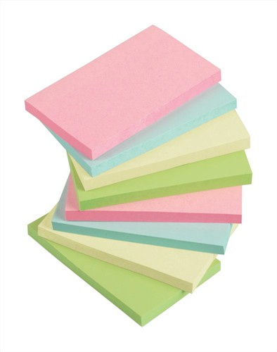 5 Star Re-Move Notes Repositionable Pastel Pad of 100 Sheets 76x127mm Assorted Ref [Pack 12]