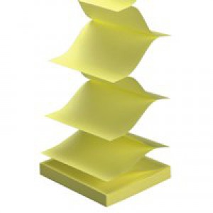 5 Star Re-Move Notes Concertina Pad of 100 Sheets 76x76mm Yellow [Pack 12]