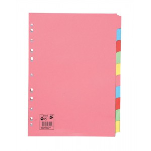 5 Star Subject Dividers Multipunched Manilla Board 10-Part A4 Assorted [Pack 25]