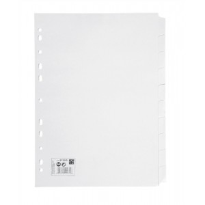 5 Star Subject Dividers Multipunched Manilla Card 10-Part A4 White