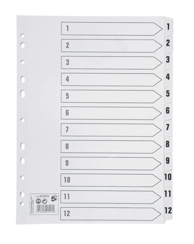 5 Star Index 230 micron Card with Clear Mylar Tabs 1-12 A4 White