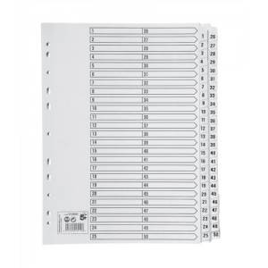 5 Star Index 230 micron Card with Clear Mylar Tabs 1-50 A4 White