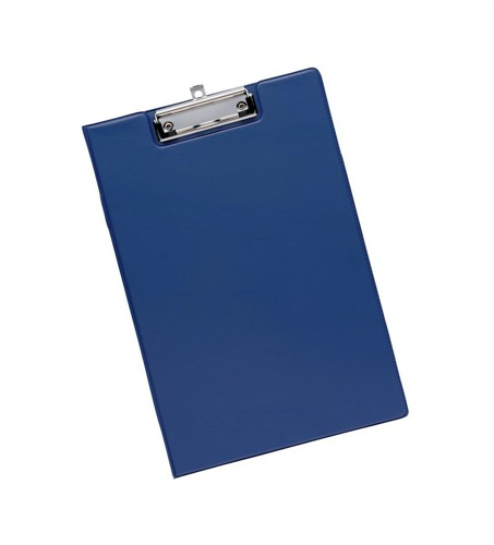 5 Star Fold-over Clipboard with Front Pocket Foolscap Blue