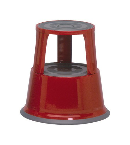 5 Star Step Stool Mobile Spring-loaded Castors up to 150kg Top D290xH430xBase D435mm 5kg Red