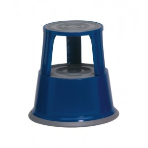5 Star Step Stool Mobile Spring-loaded Castors up to 150kg Top D290xH430xBase D435mm 5kg Blue