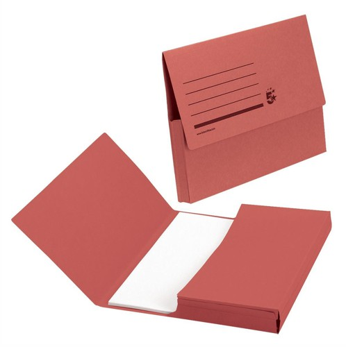 5 Star Document Wallet Half Flap 285gsm Capacity 32mm A4 Red [Pack 50]