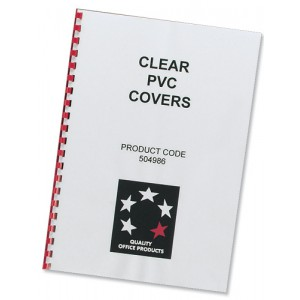 5 Star Comb Binding Covers PVC 200 micron A4 Clear [Pack 100]