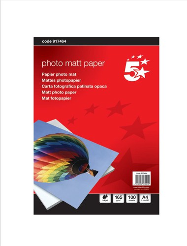 5 Star Inkjet Paper Matt 165gsm A4 White [100 Sheets]