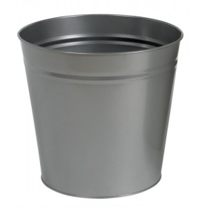 5 Star Waste Bin Round Metal Scratch Resistant D300xH280mm 15 Litres Silver Metallic