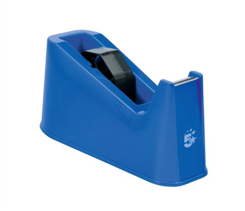 5 Star Tape Dispenser Desktop Weighted Non-slip Roll Capacity 25mm Width 66m Length Blue