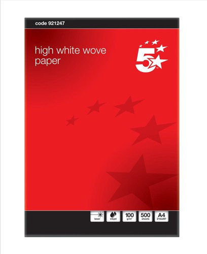 5 Star Business Paper Prestige Wove Finish Ream-Wrapped 100gsm A4 High White [500 Sheets]