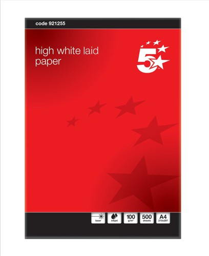 5 Star Business Paper Prestige Laid Finish Ream-Wrapped 100gsm A4 High White [500 Sheets]