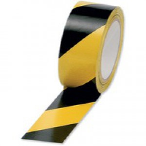 Hazard Tape Soft PVC Internal Use 50mmx33m Black and Yellow [Pack 6]