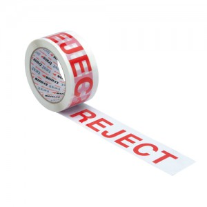 Printed Tape Reject Polypropylene 50mm x 66m Red on White Pack 6