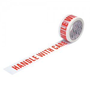 Printed Tape Handle with Care Polypropylene 50mm x 66m Red on White [Pack 6]