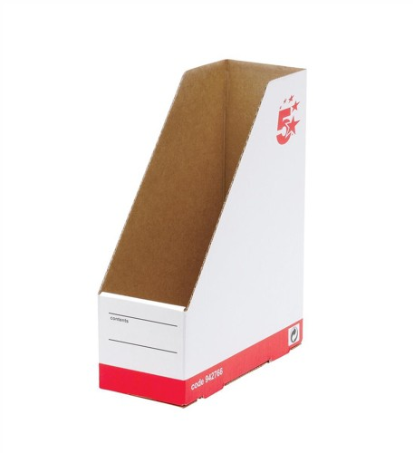 5 Star Magazine File Self-locking Part-recycled A4 Plus Oyster White [Pack 10]
