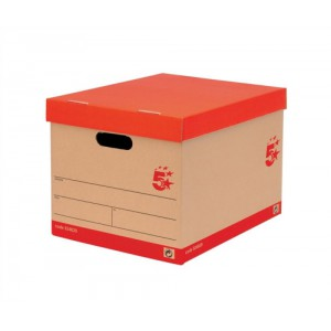 5 Star Storage Box for 5 A4 Lever Arch Files W317xD384xH287mm Basketweave Brown [Pack 10]