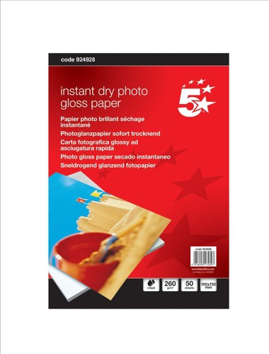 5 Star Paper Inkjet Photo Gloss Fast Drying 260gsm 100x150mm [50 Sheets]