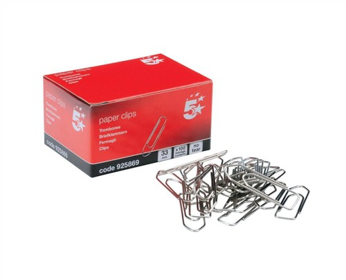 5 Star No Tear Paperclips Extra Large Length 33mm [Pack 10x100]