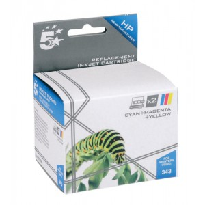 5 Star Compatible Inkjet Cartridge Page Life 520pp Colour [HP No. 343 CB332EE Alternative] [Pack 2]