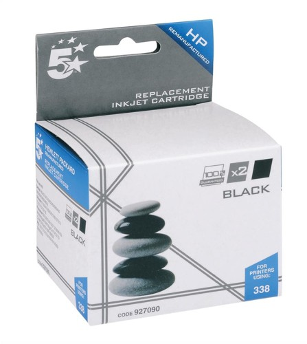 5 Star Compatible Inkjet Cartridge Page Life 900pp Black [HP No. 338 CB331EE Alternative] [Pack 2]