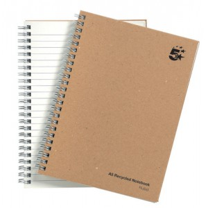 5 Star Notebook Wirebound Hard Cover Recycled 80gsm A5 Manilla [Pack 5]